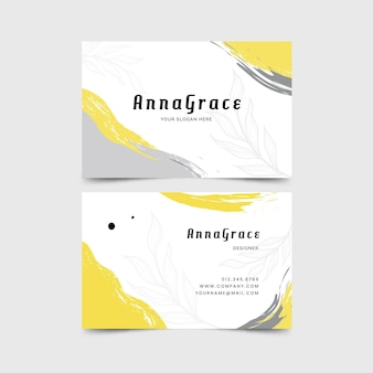 Yellow and gray organic business cards with stains