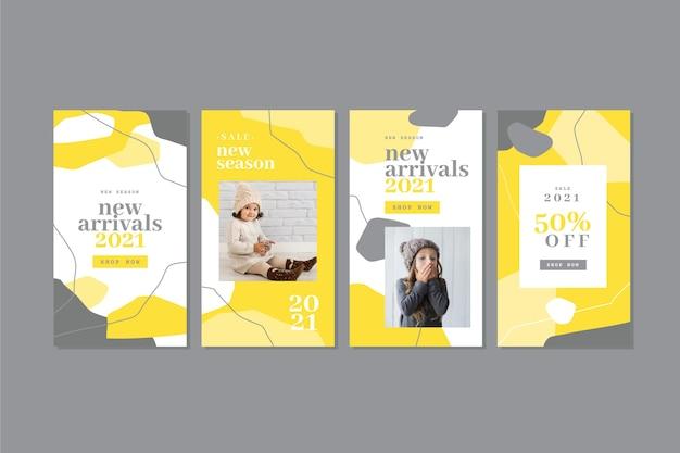 Raccolta di storie di instagram organiche gialle e grigie