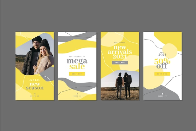 Yellow and gray organic instagram stories collection