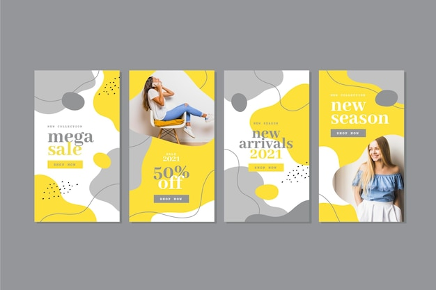 Yellow and gray organic instagram stories collection Free Vector