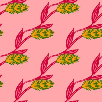 Yellow and green colored ear of wheat ornament seamless doodle pattern. bright pink background. farm print. graphic design for wrapping paper and fabric textures. vector illustration.