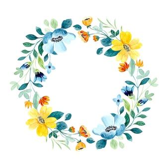 水彩で黄緑色の花の花輪