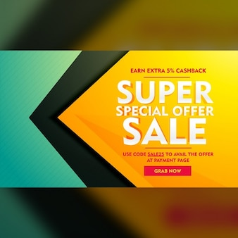 Yellow and green geometric discount voucher
