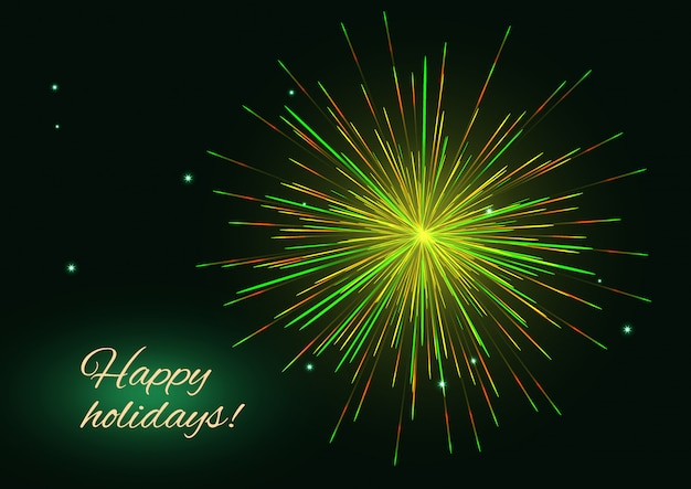 Yellow, green, golden fireworks over starry night sky, happy holidays card