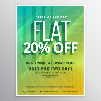 Yellow and green poster with sun rays for discounts