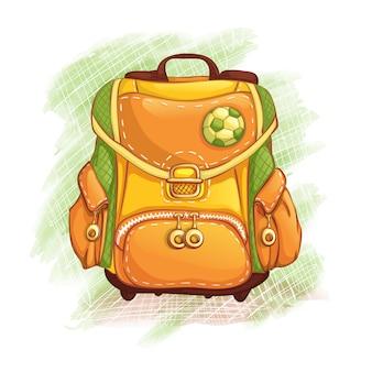 黄緑色のカバン。学校に戻る。小学生の研究のための主題。