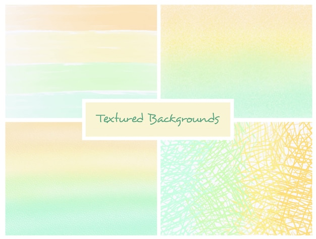 Yellow and green textured ombre backgrounds set