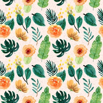 Yellow green tropical floral watercolor seamless pattern