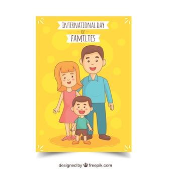 행복 한 가족과 함께 노란색 인사말 카드