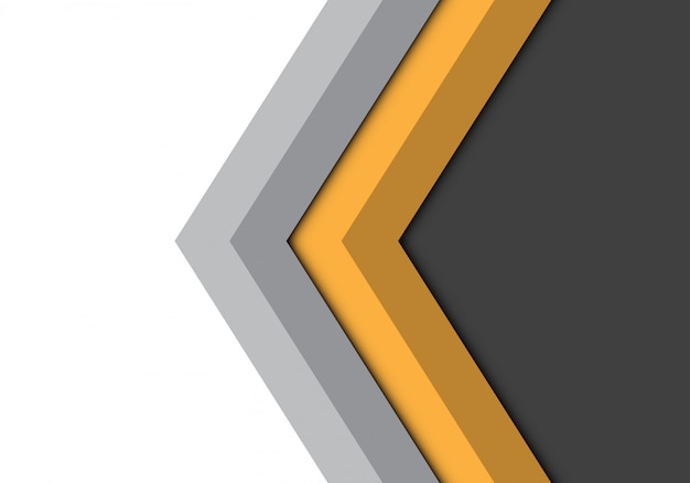 Yellow grey arrow direction isolated background.