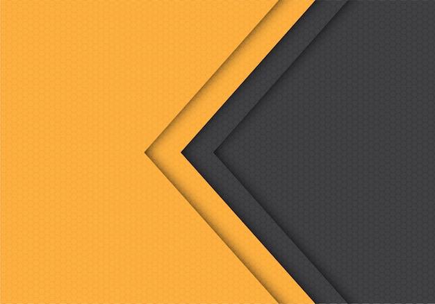Yellow grey arrow hexagon mesh pattern direction background.