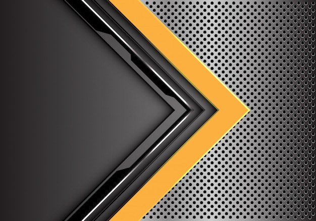Yellow grey circuit arrow direction metal circle mesh background.