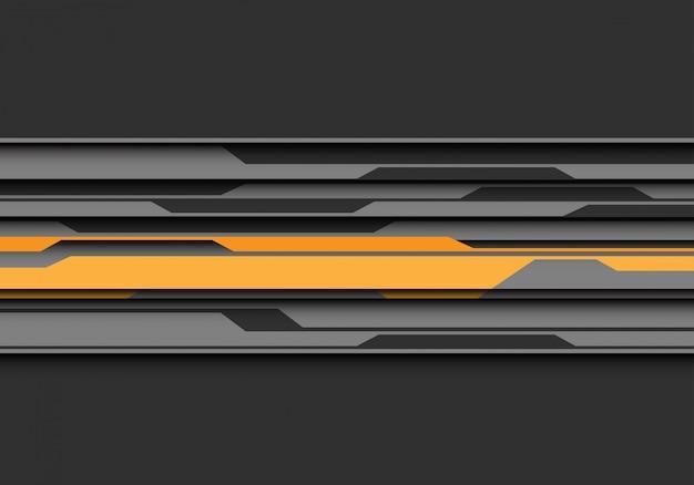 Yellow grey circuit line overlap on dark futuristic background.