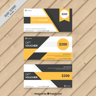 Yellow and grey geometric gift coupons set