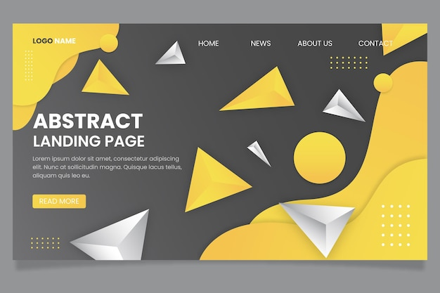 Yellow and grey landing page template