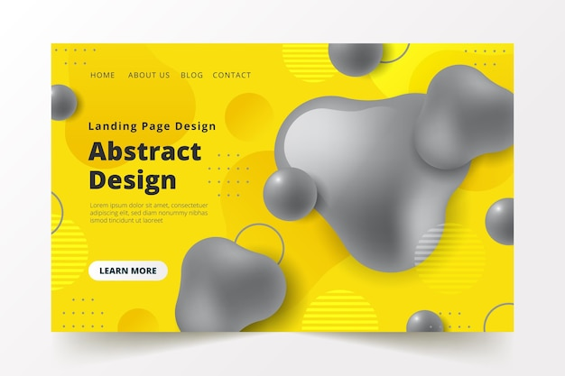 Yellow and grey landing page