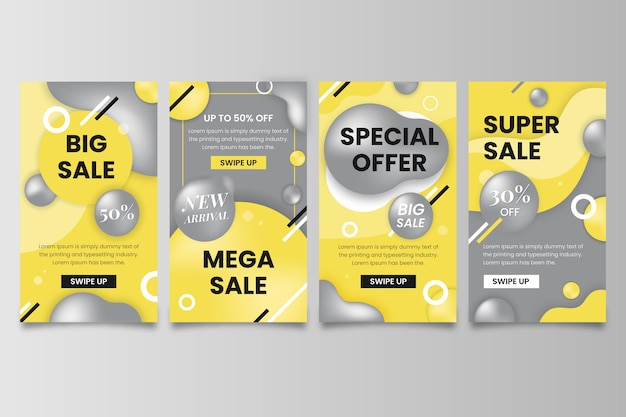 Yellow and grey social media stories