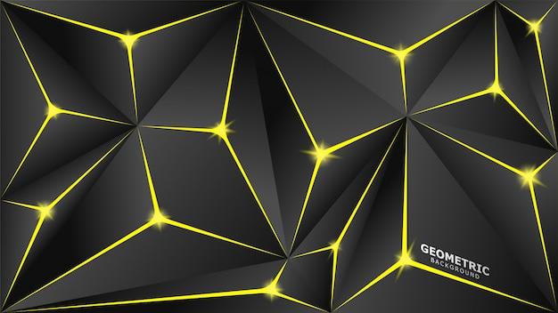 Yellow and grey triangles geometric background