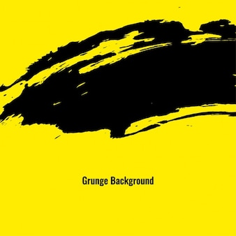 Yellow grunge background with black paint