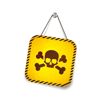 Yellow grunge warning sign with skull hanging on the rope on white