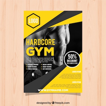 Yellow gym cover template with image