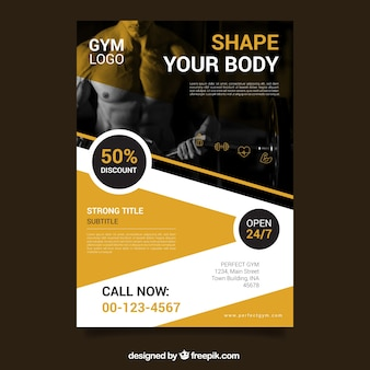 Yellow gym flyer template with image