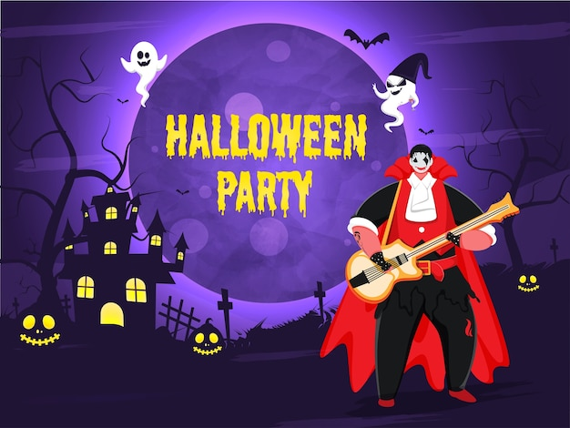 Yellow halloween party text in dripping style with vampire man playing guitar, cartoon ghosts, haunted house and jack-o-lanterns on full moon purple graveyard background.