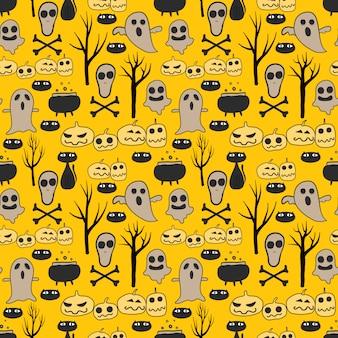 Yellow halloween seamless pattern