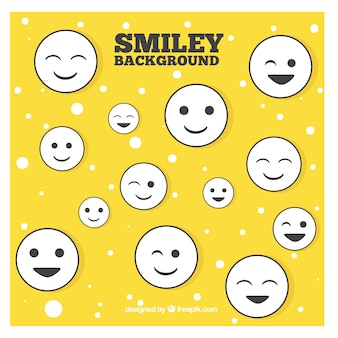 Yellow hand drawn emoticons background