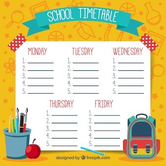 Yellow hand drawn school timetable