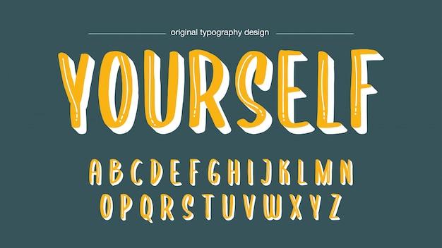 Yellow handwritten typography