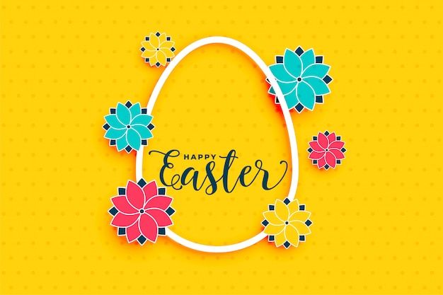 Yellow happy easter background with egg and flower