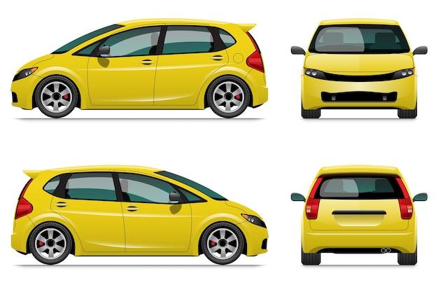 노란색 해치백 자동차 템플릿, 흰색 배경에 고립.