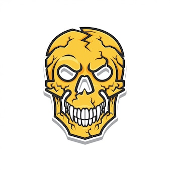 Yellow head skull vector illustration