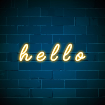 Yellow hello neon sign