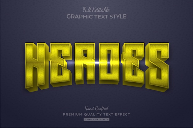 Yellow heroes movie editable text effect font style