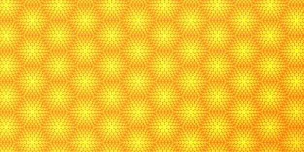 Yellow hexagon halftone pattern background