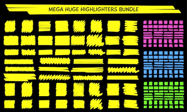 Yellow highlight marker hand drawn scribble set