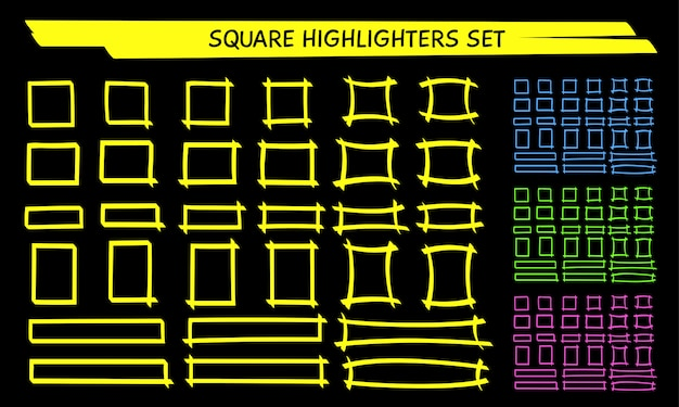 Yellow highlight marker square frame set
