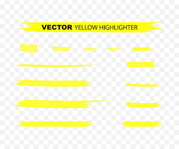 Yellow highlighter marker strokes. yellow watercolor hand drawn highlight set.