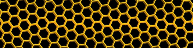Yellow honeycomb background. honeycomb seamless pattern. geometric hexagons background. vector illustration