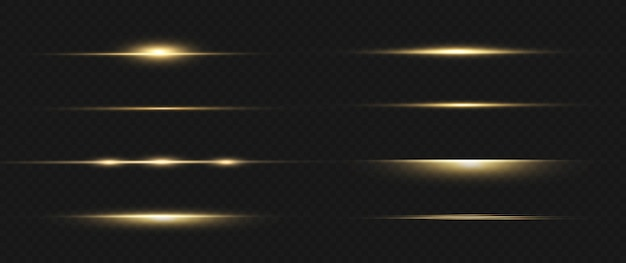 Yellow horizontal lens flares. laser beams horizontal light