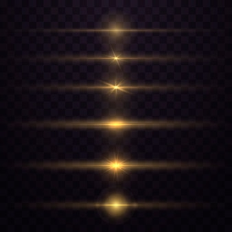 Yellow horizontal lens flares pack. glowing light explodes. luminous sparkling lines.