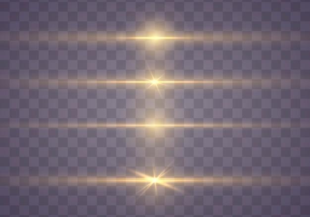 黄色の水平レンズフレアパック。輝く光が爆発します。明るいきらめくライン。