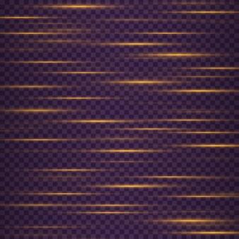 노란색 수평 렌즈 플레어 팩 어두운 배경에 빛나는 줄무늬