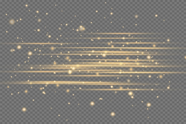 Yellow horizontal lens flares pack. laser beams, horizontal light rays.beautiful light flares. glowing streaks on dark background. luminous abstract sparkling lined background.