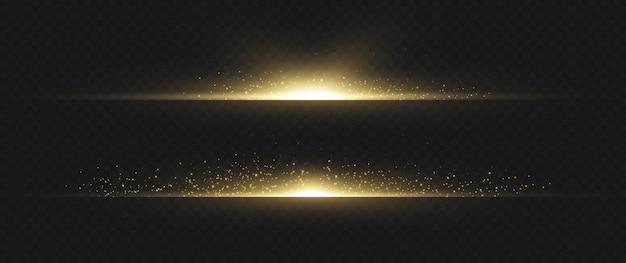 노란색 수평 렌즈 플레어 팩. 레이저 빔, 수평 광선. 아름다운 조명탄. 어두운 배경에 빛나는 줄무늬. 빛나는 추상 반짝 줄 지어 배경.