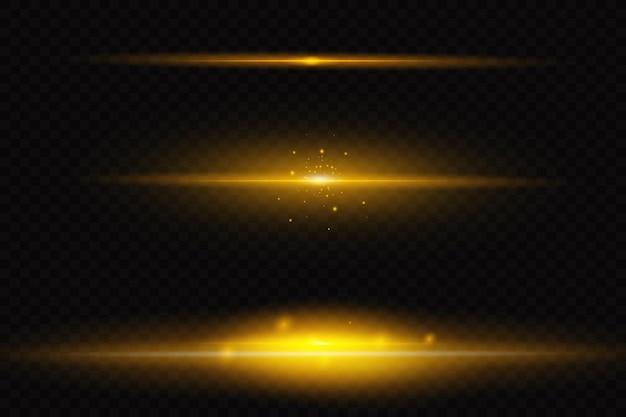 黄色の水平レンズフレアパック。レーザー光線、水平光線。美しい光のフレア。暗い背景に輝く縞。明るい抽象的なきらめく裏地付きの背景。