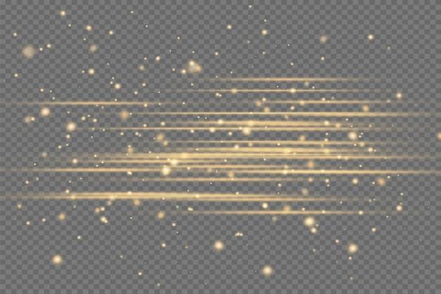 노란색 수평 렌즈 플레어 팩. 레이저 빔, 수평 광선. 아름다운 빛 플레어. 어두운 배경에 빛나는 줄무늬. 빛나는 추상 반짝이 줄지어 배경.