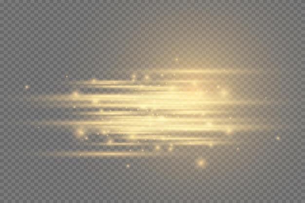 노란색 수평 렌즈 플레어 팩. 레이저 빔, 수평 광선. 아름다운 빛이 번쩍입니다. 어두운 배경에 빛나는 줄무늬. 빛나는 추상 반짝이 줄지어 배경.